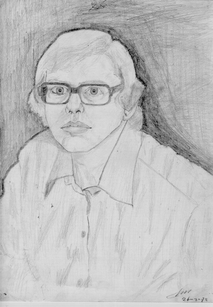 Zelfportret. Potlood op papier. (1972)